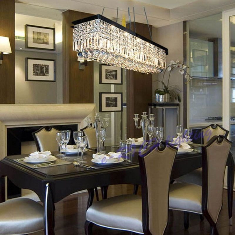 Rectangular Crystal Chandelier For Dining Room In 2020 Modern Dining Room Set Dining Room Chandelier Crystal Chandelier Dining Room