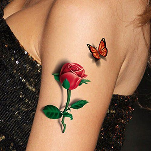 "TAFLY 5 Sheets 3D Ladies Body Art Sticker Sexy Butterfly Rose+Butterfly Temporary Tattoo. Meet rigid safety and non-toxic materials standard. 3D Sexy Temporary Tattoo lasts anywhere from 1- 5 days. Each All-In-One package includes 5 sheets ; each sheet measures approx. 6"" x 8"". Lowest Price Per Sheet On Amazon Get cute tattoos for less without compromising quality! Our tattoos for girls and women make showing off your individuality simple and affordable!. Fully Waterproof Our sexy tattoos..."