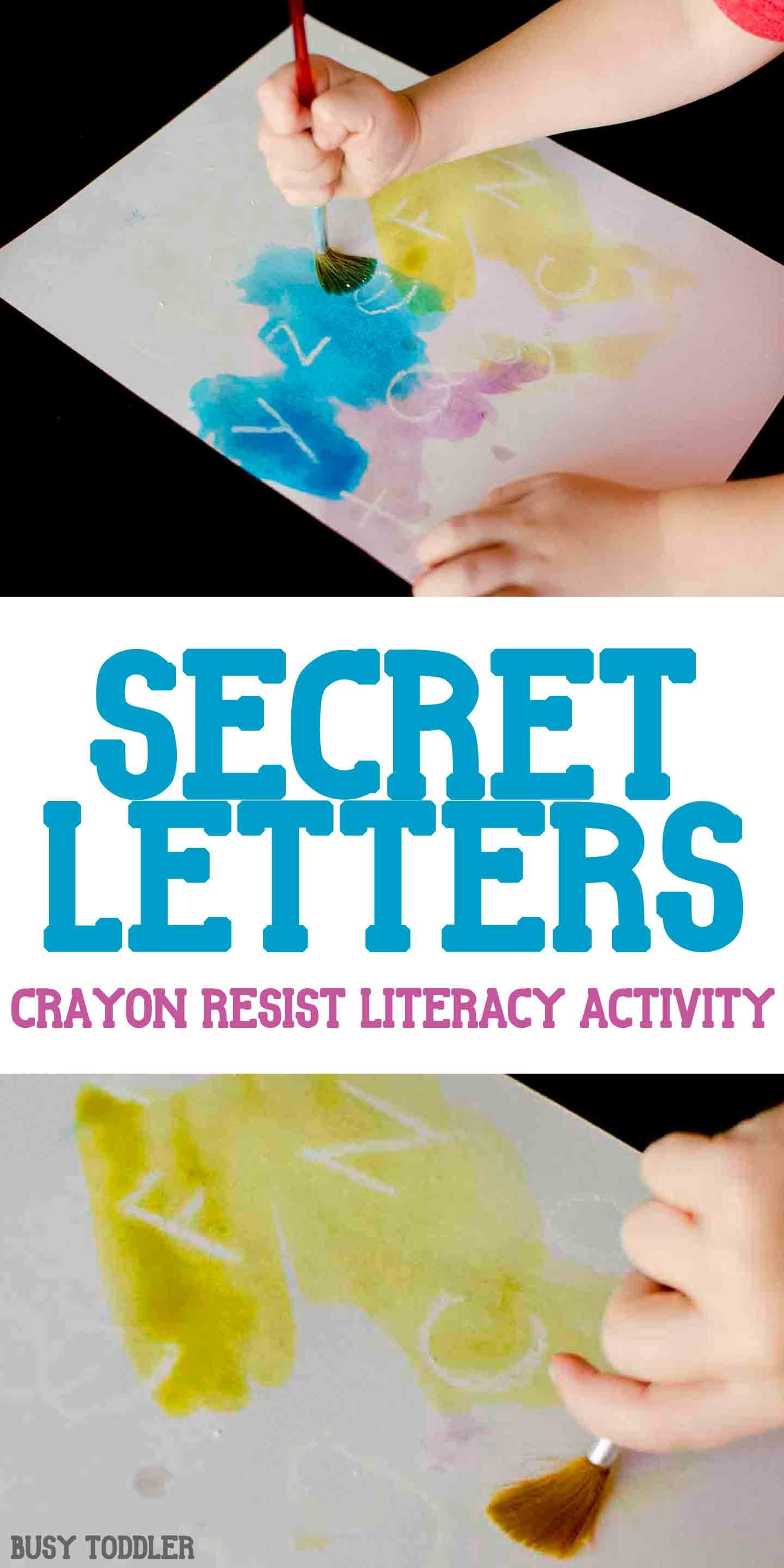 secret letters activity an awesome crayon resist literacy activity thats so much fun a quick and easy indoor activity for toddlers and preschoolers