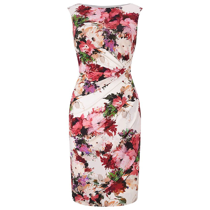 Black Lace Pink Red Floral Print Pencil Bodycon Dress Wedding Size 8-16