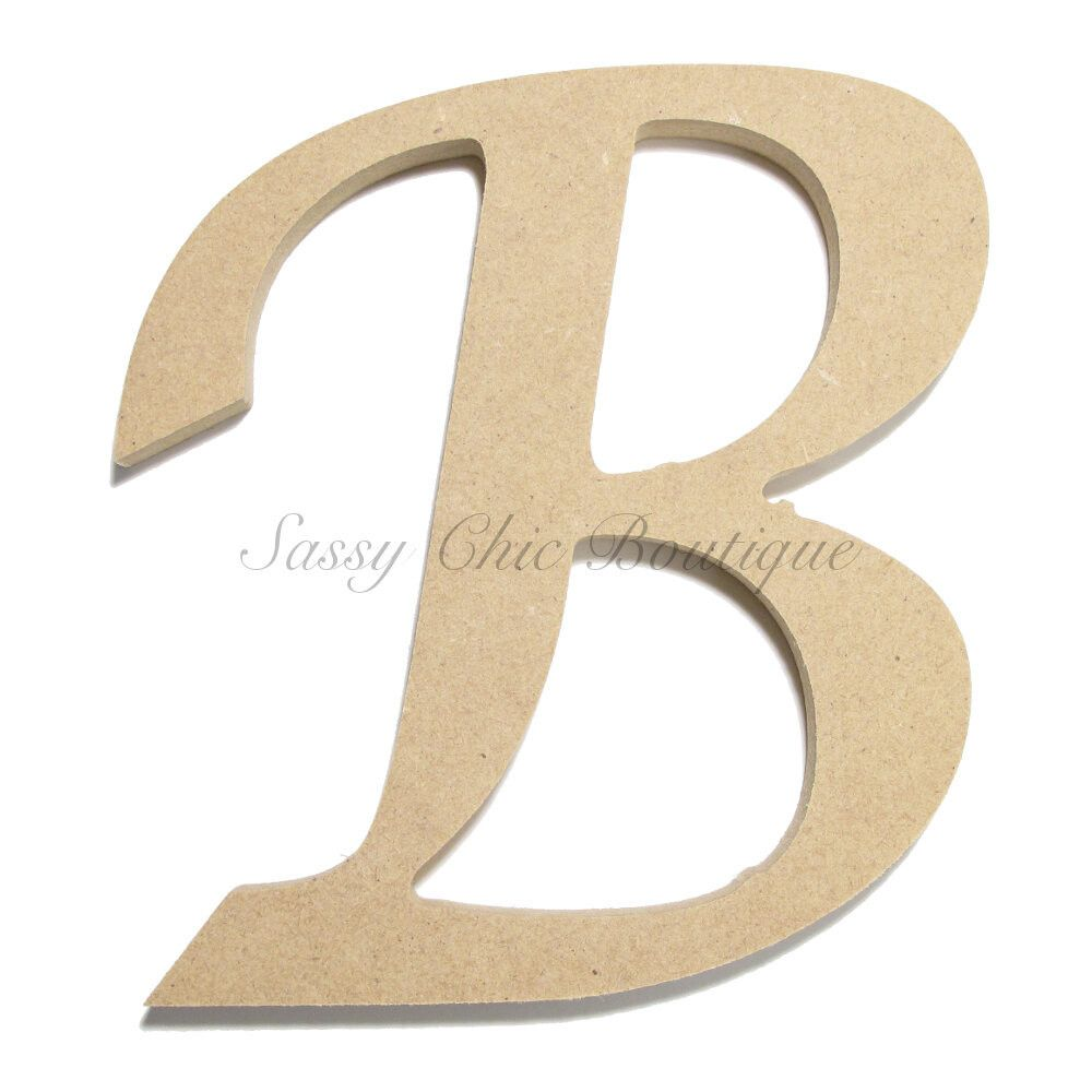 unfinished wooden letter uppercase b lucida calligraphy font sassy chic