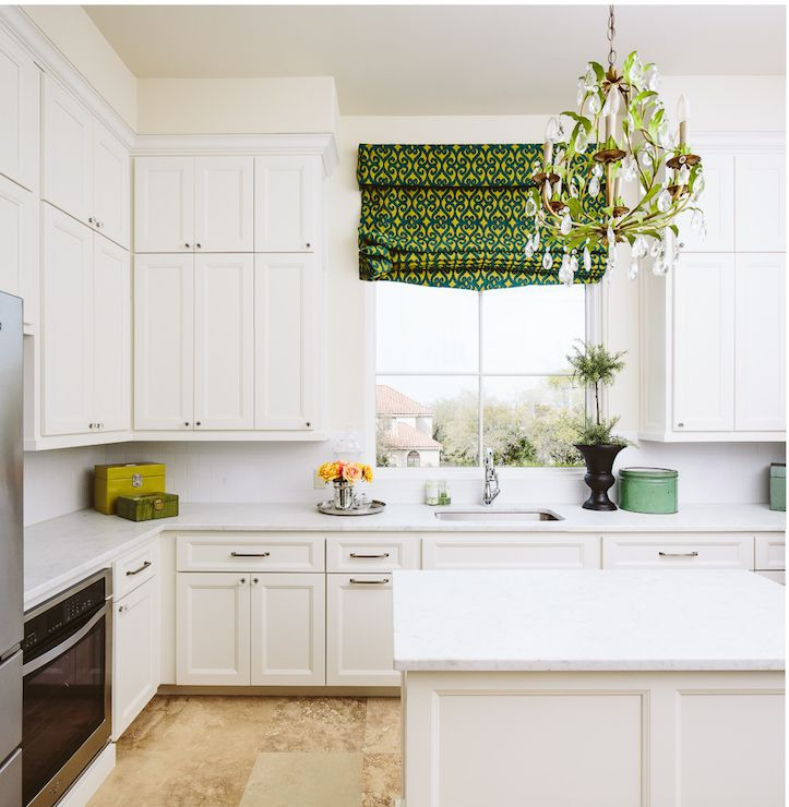 White Kitchen With Green Accents Transitional Matthew Niemann