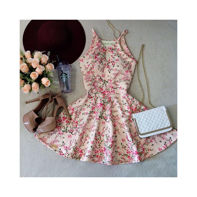 Vestido Boneca Ludmilla  Decote Gota C/ BOJO ( Estampa mini flores/ Fundo Rosa) - Melrose Brasil
