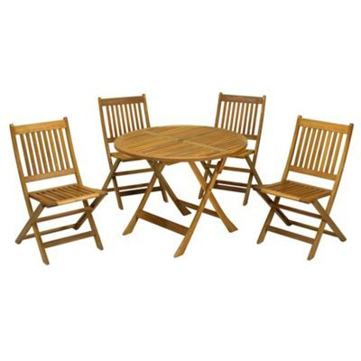 Debenhams Acacia Wood Manhattan Folding Table And 4 Chairs Set
