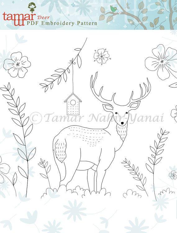 Embroidery patterns baby headband Deer by TamarNahirYanai on Etsy ...