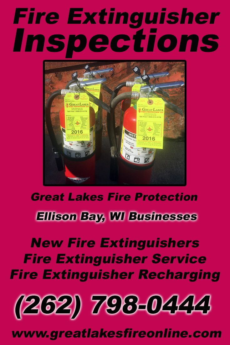 Fire Extinguisher Inspections Ellison Bay, WI (262) 798-0444 Local Wisconsin Businesses Discover the Complete Fire Protection Source.  We're Great Lakes Fire Protection.. Call us today!