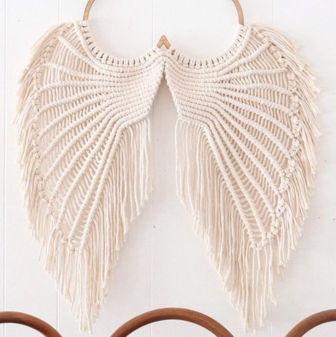 angel wings macrame macrame wallhanging angel wings wall. Black Bedroom Furniture Sets. Home Design Ideas