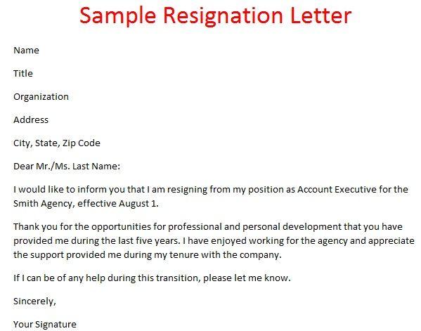 sample resignation email template pinterest resignation letter