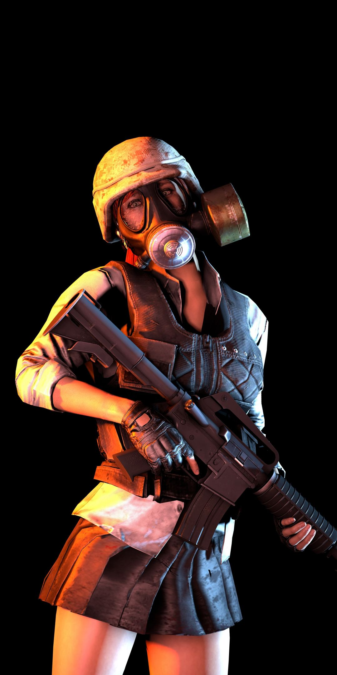 PUBG, mask girl with gun, video game, 1080x2160 wallpaper
