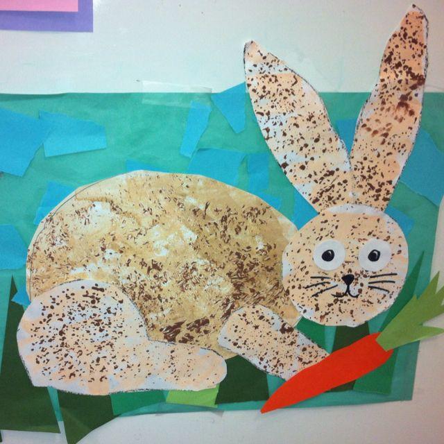 Kindergarten Art- Rabbit Collage- Sponge Painting