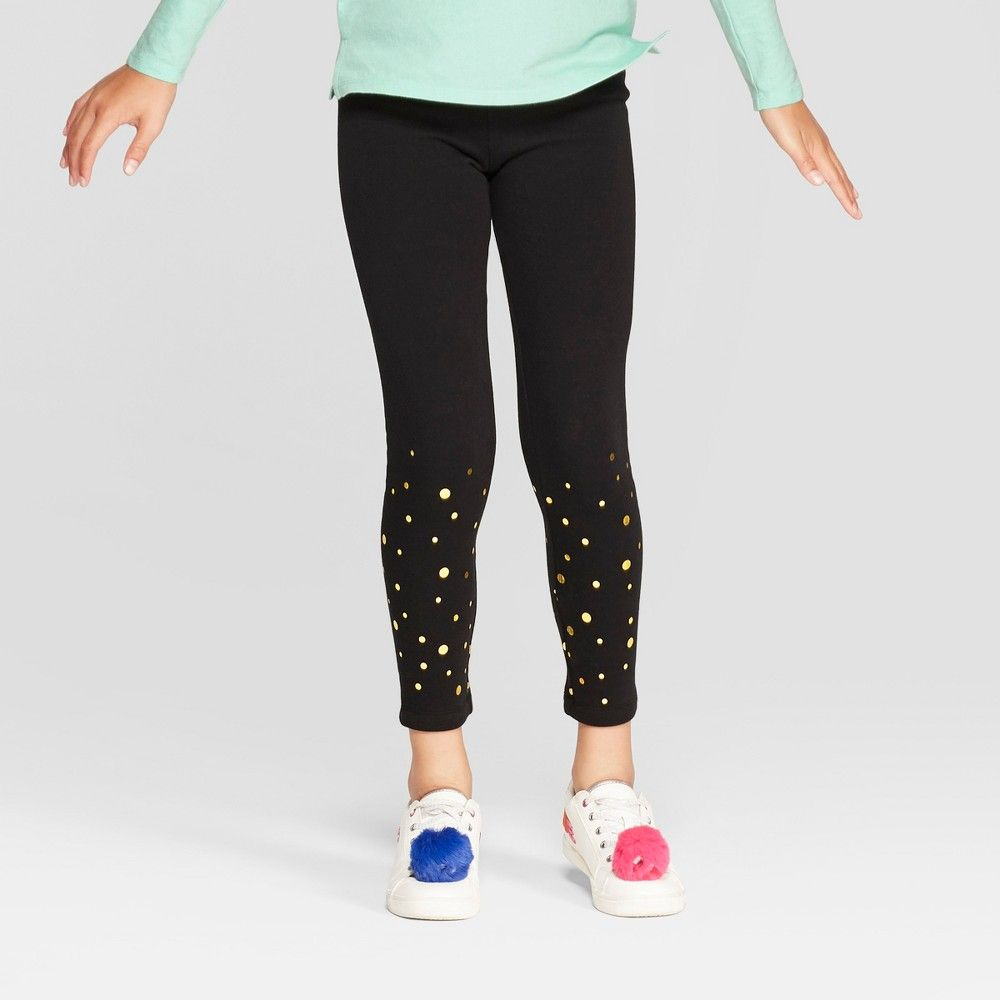 28ae2fab4cbd8 Girls' Cozy Fleece Foil Dot Leggings - Cat & Jack Black | Products ...