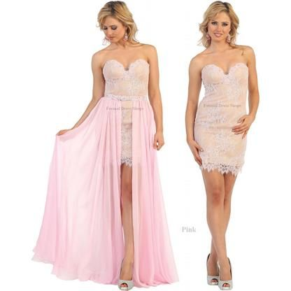 176b1863572 Designer NEW 2 IN 1 EVENING PROM GOWN FORMAL COCKTAIL BIRTHDAY PARTY SEXY  SHORT SWEET SIXTEEN