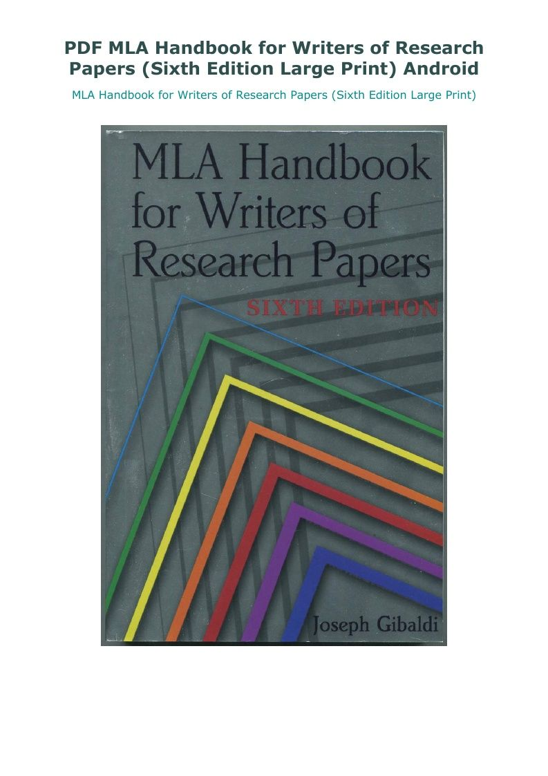 Pdf Mla Handbook For Writer Of Research Paper Sixth Edition Large Print Android 6th Download