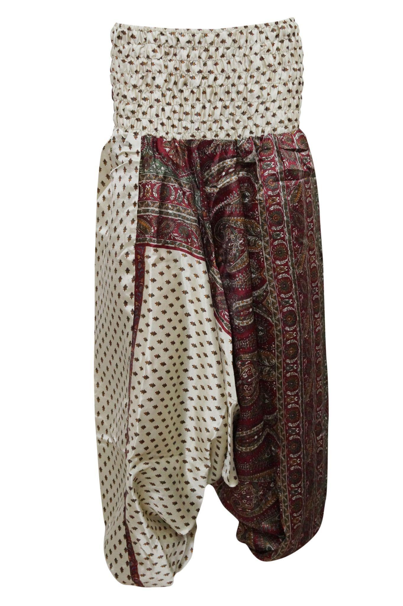 d1273d5e08c Womens Harem Pants Maroon Beige Hippy Boho Gypsy Yoga Jumpsuit Apparel