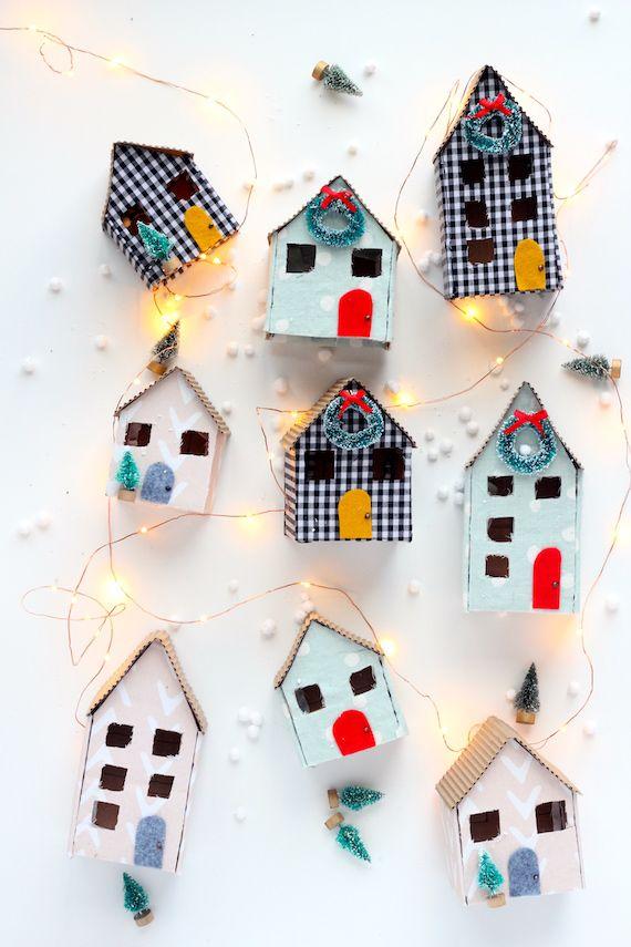 Diy Mini Christmas Cardboard Houses Diy Christmas Village Easy Christmas Diy Christmas Mason Jars Diy