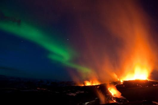 Iceland volcano and Northern lights