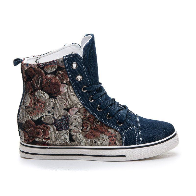 Trampki Sneakers Z Printem Stylowe Obcasy High Top Sneakers Sneakers Shoes