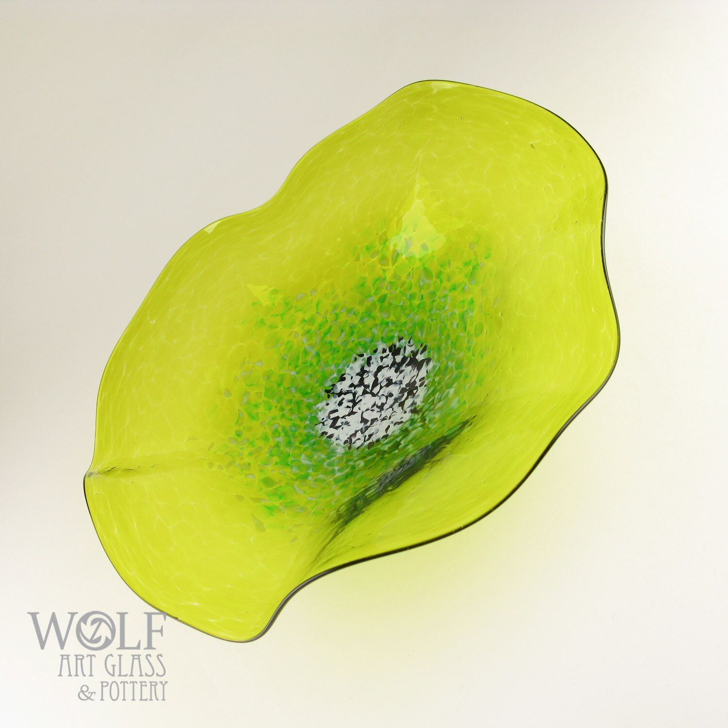 MADE TO ORDER Lemon Lime Green Poppy Flower Blown Glass Wall Art ...
