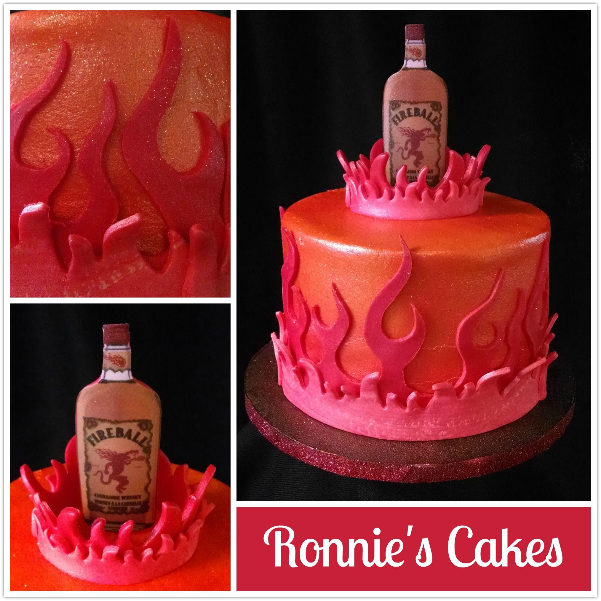 Birthday cake for someone who loves fireball whisky