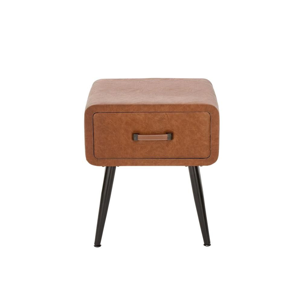 Litton Lane Brown Faux Leather Storage Side Table With Black Iron