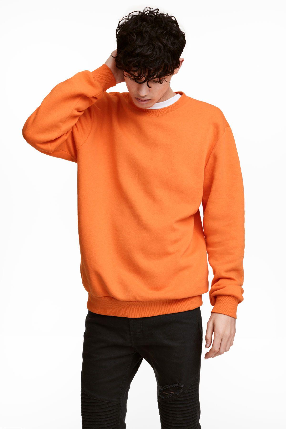 Relaxed Fit Sweatshirt Orange Men H M Us Black Outfit Men Japanese Street Fashion Men Sweatshirt Outfit Men [ 1800 x 1200 Pixel ]