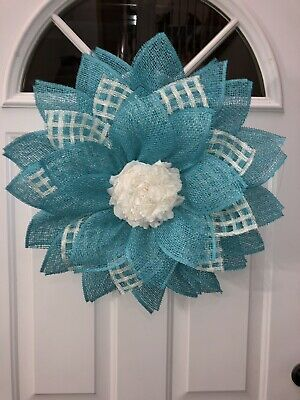 Photo of Burlap Daisy Wreath, Spring Wreath, Flowers Burlap Wreath, Summer Wreath, Easter | Ebay