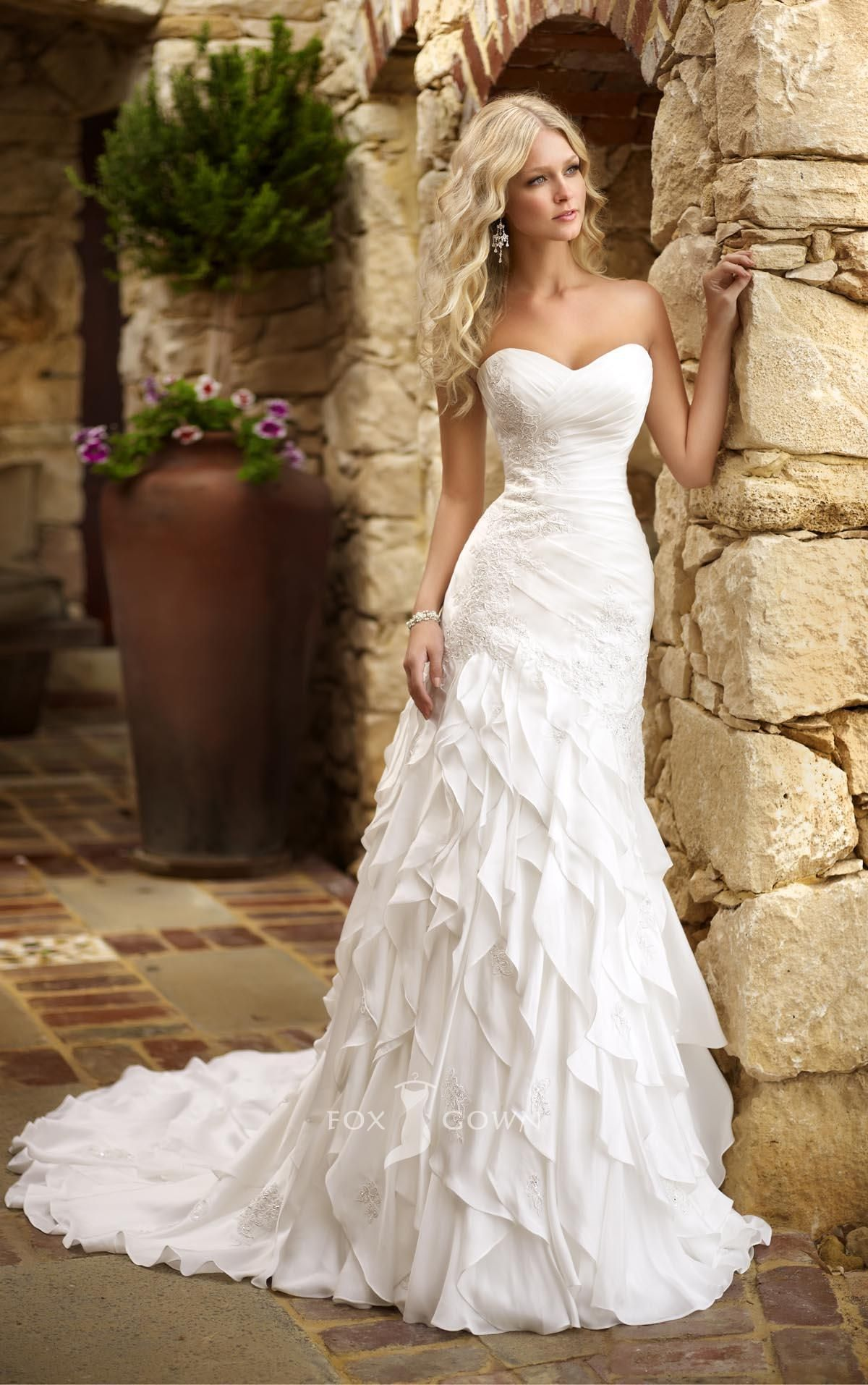 50 gorgeous wedding dresses with train ruffles wedding for Simple form fitting wedding dresses