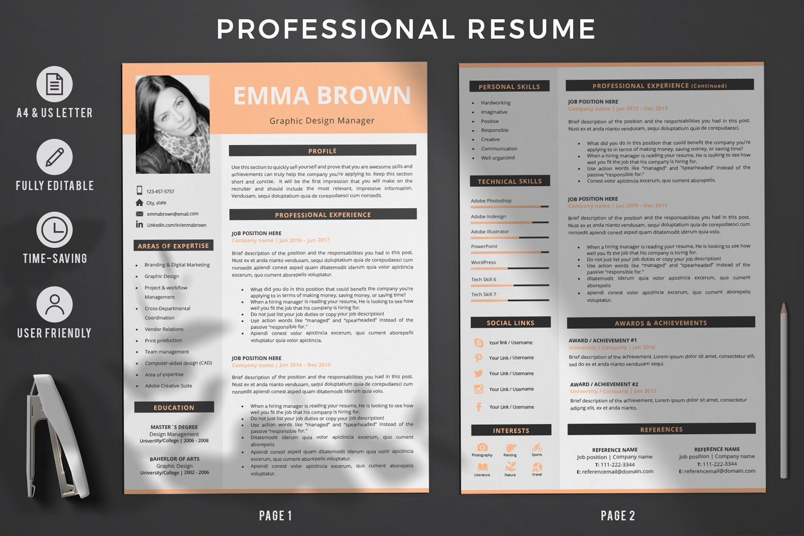 Creative Resume Templates For Ms Word And Mac Pages Professional Resume Templates And Matching Cover Let Resume Design Template Modern Cv Template Cv Template