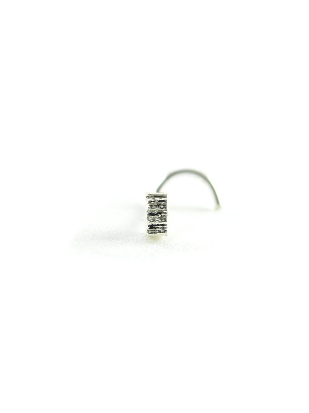 Corkscrew nose piercing  Bar nose stud  recycled platinum  Badass Closure and Unique