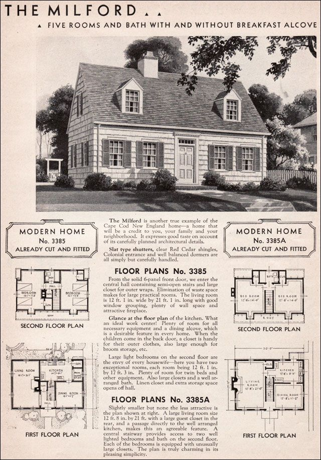 1936 sears kit house milford house plans house plans cape cod style house vintage house. Black Bedroom Furniture Sets. Home Design Ideas