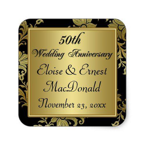 Black, Gold 50th Wedding Anniversary Sticker 2