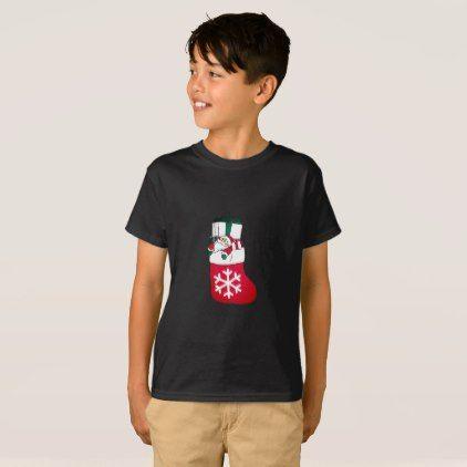 Cute Happy Little Santa Claus in the Sock T-Shirt - kids kid child gift idea diy personalize design