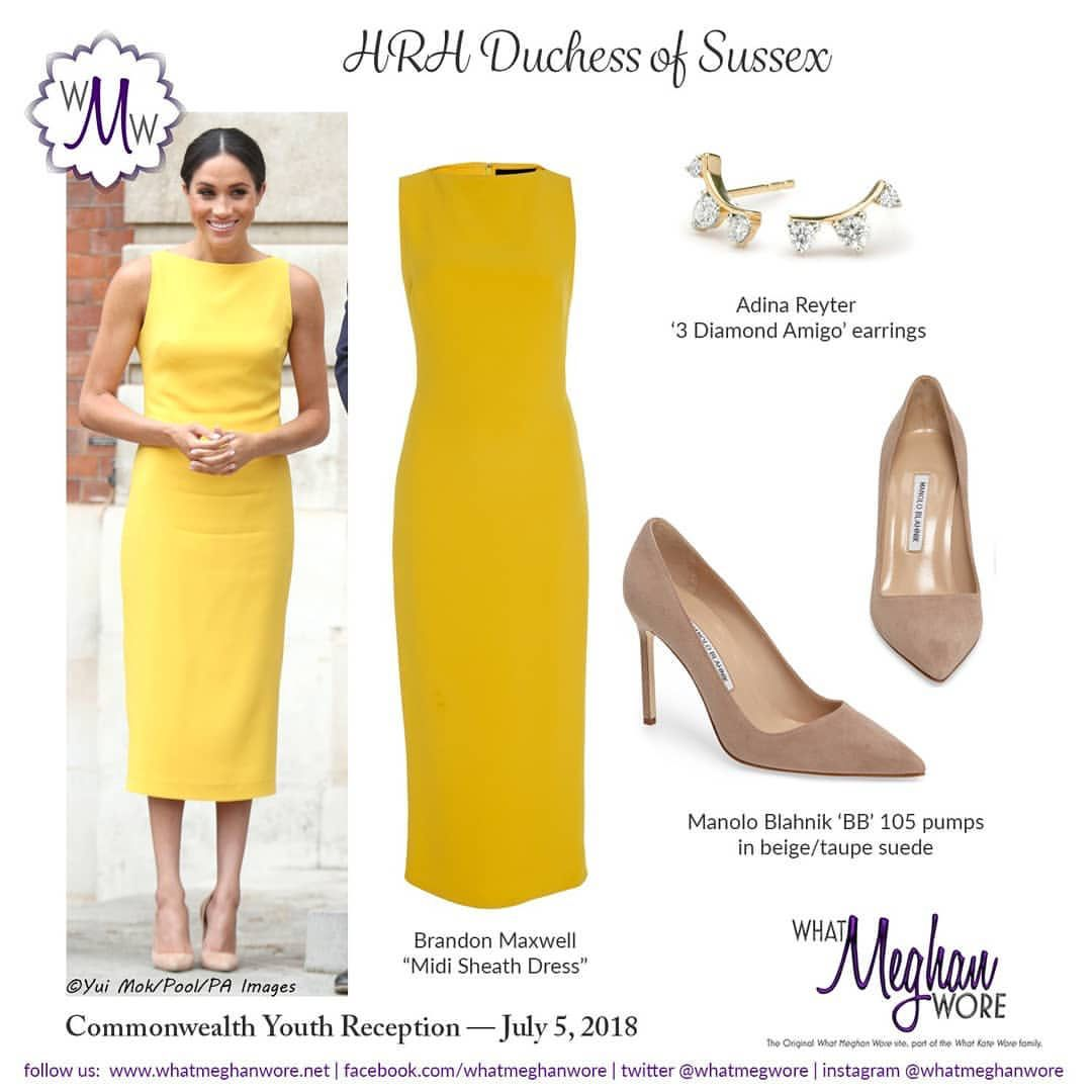Meghan Shined Brightly In A Sleeveless Canary Yellow Sheath Dress