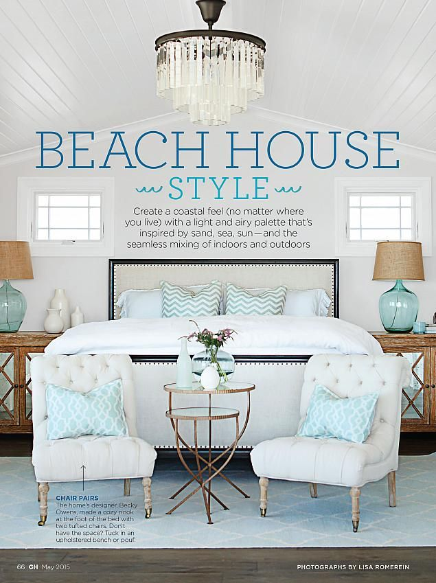 Beach house style from sarah richardson good housekeeping may 2015 for the home pinterest Beach house master bedroom ideas