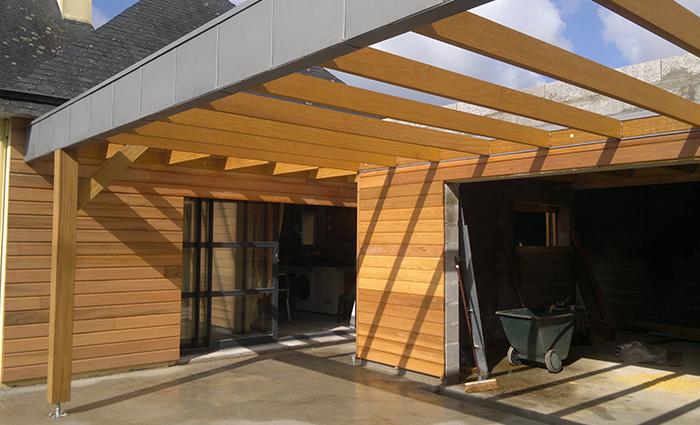 Extension 2 bois zinc extension concarneau construction ossature bois maison et extension for Construction bois zinc