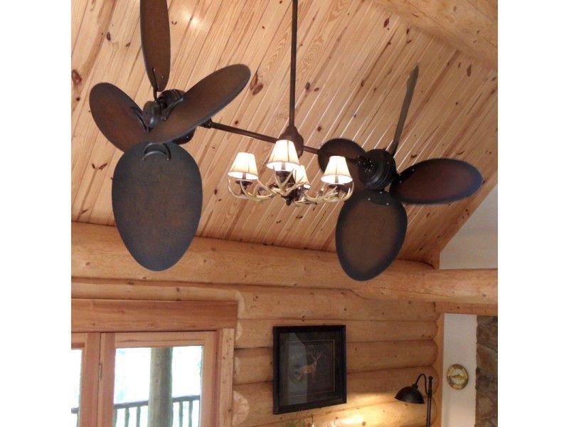 Rustic Twin Ceiling Fan W Antler Chandelier Style Light Ceiling Fan Rustic Ceiling Fan Rustic Ceiling