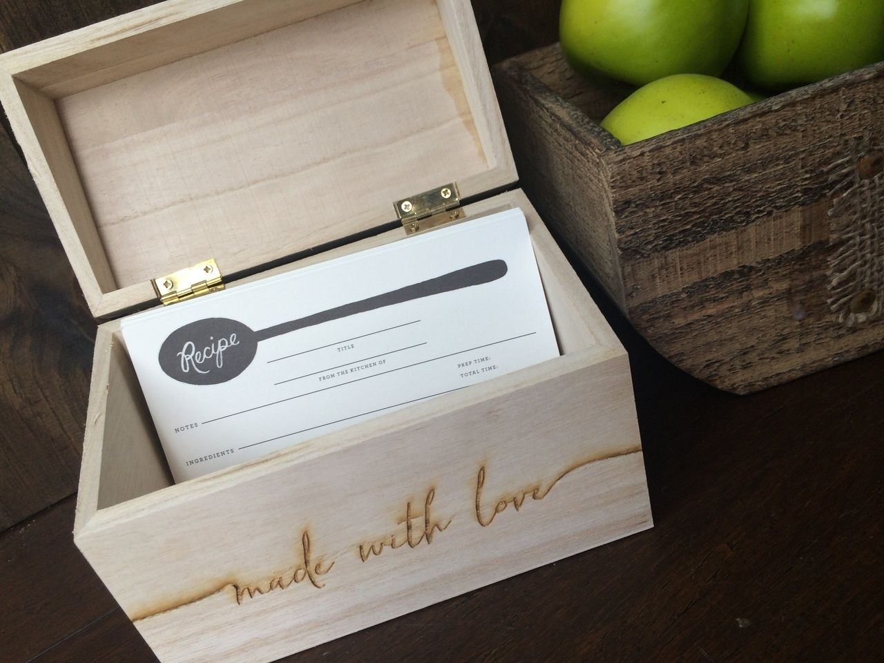 Made with Love Personalized Recipe Box Made