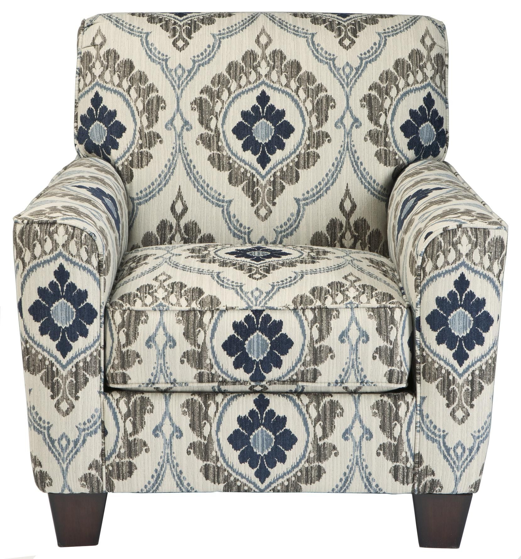 Blue Pattern Accent Chair High Back Cushion Carlino Mile Mineral By Signature Design Ashley Furniture