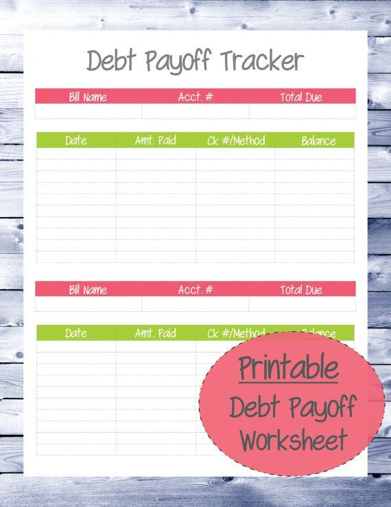 Debt Payoff Tracker Worksheet  Budget Printable  Student Loan