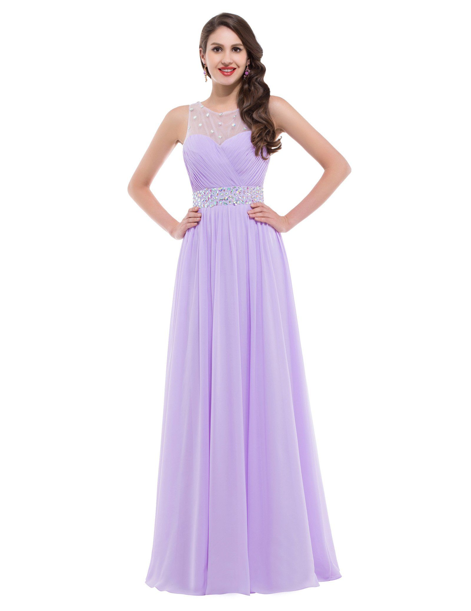 Girls Round Neck Sleeveless Floor Length Chiffon Lilac Dresses UK12 ...