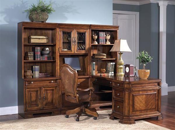 Madison Traditional Brown Wood Office Furniture Set w/Chair