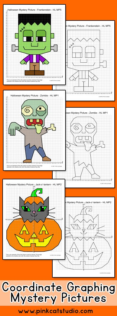 Halloween Math Coordinate Graphing Pictures Ordered Pairs
