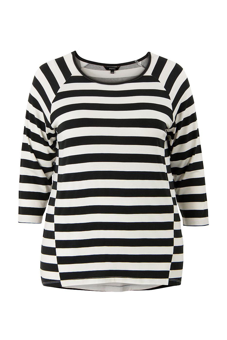 Ringel-Shirt    Shirt mit 3/4-Ärmeln und einem Rundhals-Ausschnitt. Ist mit einem Paspel aus Kunstleder (PU) am Halsausschnitt und abgeschrägten Trennungsnähten am Vorderteil versehen. Dadurch, dass die Streifen am Ärmel und am Vorder- und Rückteil unterschiedlich sind, enthält dieses Shirt ein spielerischen Effekt. Hüftlänge. Länge in Größe 48: 75 cm. Dieser Artikel gehört zu der Promiss Große...