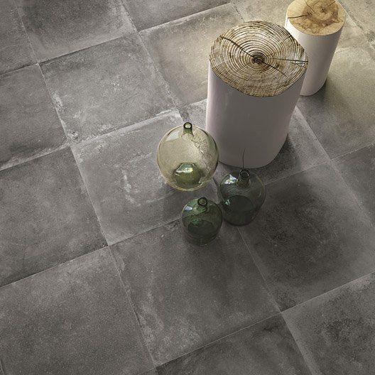 Carrelage Sol Et Mur Anthracite Effet Beton Harlem L 60 X L 60 Cm