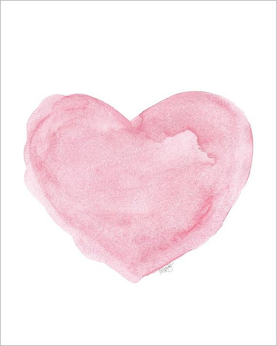 Watercolor Painting Heart Art Print Pink 8x10 Fine Art Print Love