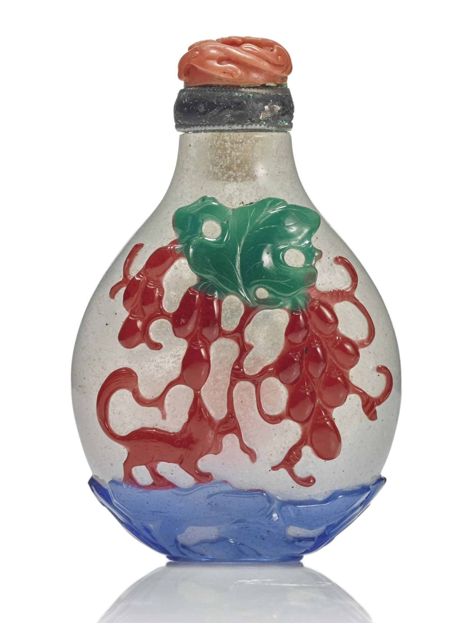 A Three Color Overlay Glass Snuff Bottle Qing Dynasty 18th 19th Century Of Flattened Ovoid Form Carved With A Grasshopper Radis Snuff Bottle Asian Art Art