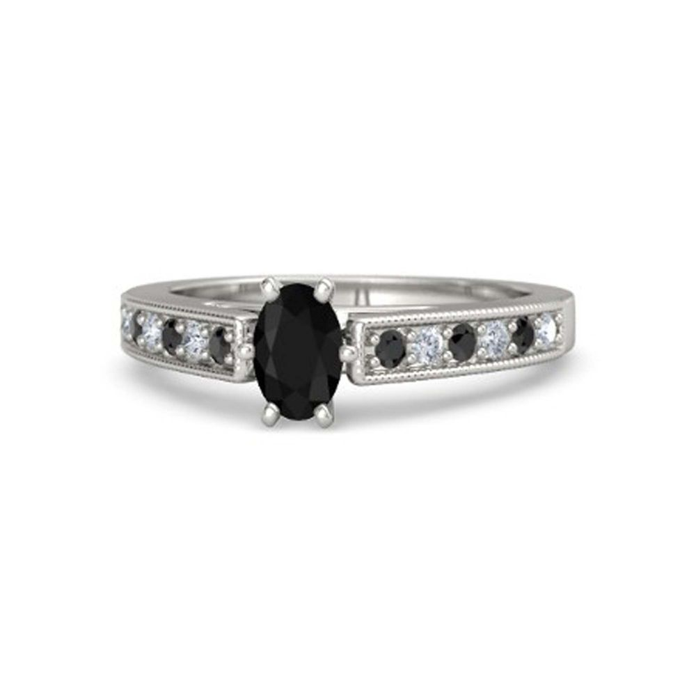Exclusive Design Black & White CZ White Gold On 925 Sterling Silver Promise Ring #eightyjewels #PromiseRing #AnySpecialDay