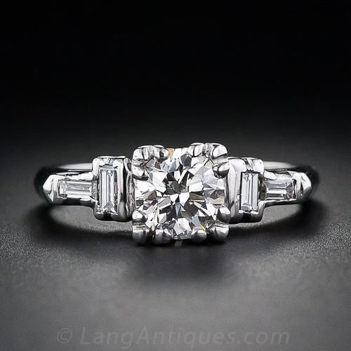 platinum band with round brilliant diamond and baguette accents