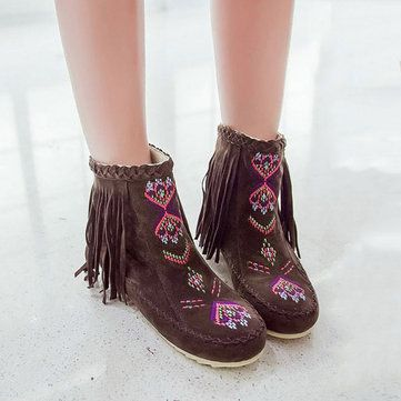Grande Taille Bottes De Broderie Pompon OWsEjY5ny
