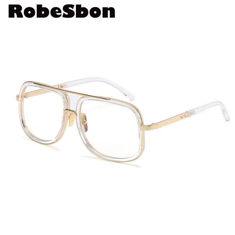 Brand Designer Gold Clear Eyeglasses Frame Men Big Glasses Women ...